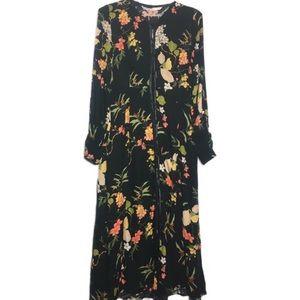 Zara Floral Button Front Midi Dress